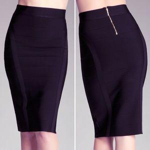 Bebe Midi Solid Black Bandage Skirt High Waist